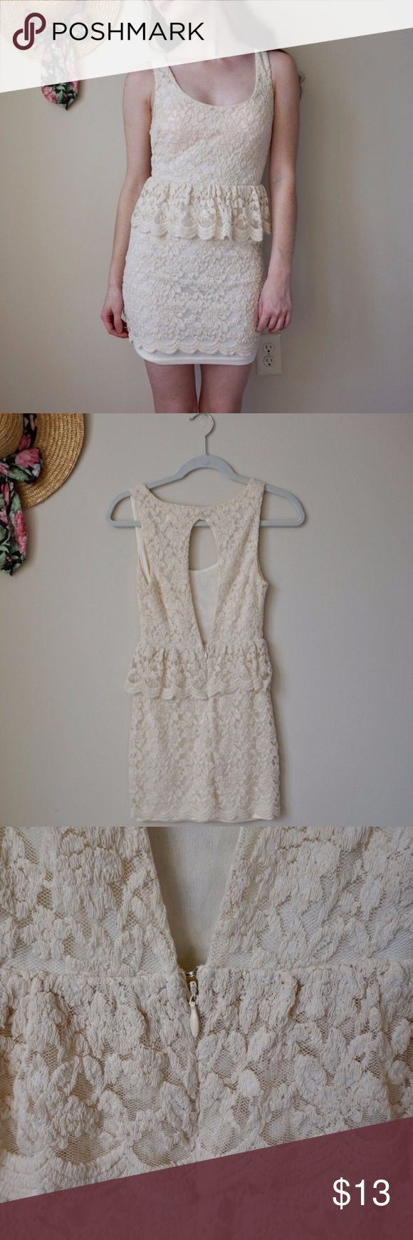 Urban Outfitters Cream Peplum Lace Dress Size XS Size: XS Brand: Pins and Needles from Urban Outfitters Color: Cream Style: A stretchy cream dress with lace overlay and peplum shape. Has a cutout on the back with a zipper that goes up the back Fit: True to size (in my opinion) Condition: Some little snags in the lace; My mom washed it in the washer, causing the lace overlay to shrink a bit. If this bothers you it could be hemmed :) Bust: 26 in Length: 23 in Model's Measurements: 5'2, 100lbs…