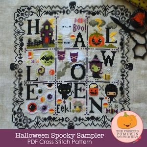 I want this on too. A very cute Halloween from The Frosted Pumpkin Stitchery : Image of Halloween Spooky Sampler PDF Cross Stitch Pattern