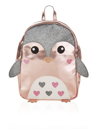This delightful novelty backpack for children features a metallic base with glitter and embroidery details, 3D wings and feet, a carry handle and a zip-top fastening.
