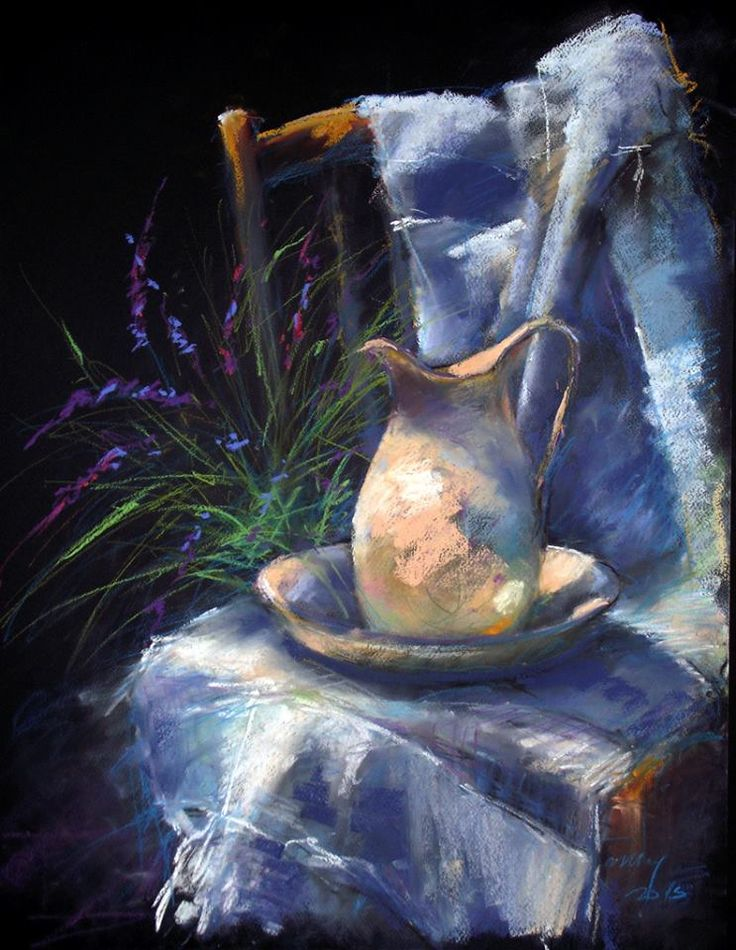 """https://www.facebook.com/MiaFeigelson """"Still life with lavender"""" """"Levendulás csendélet"""" By Béla Tarcsay, from Hungary (b. 1952) - pastel on paper; 70 x 50 m https://www.facebook.com/bela.tarcsay"""