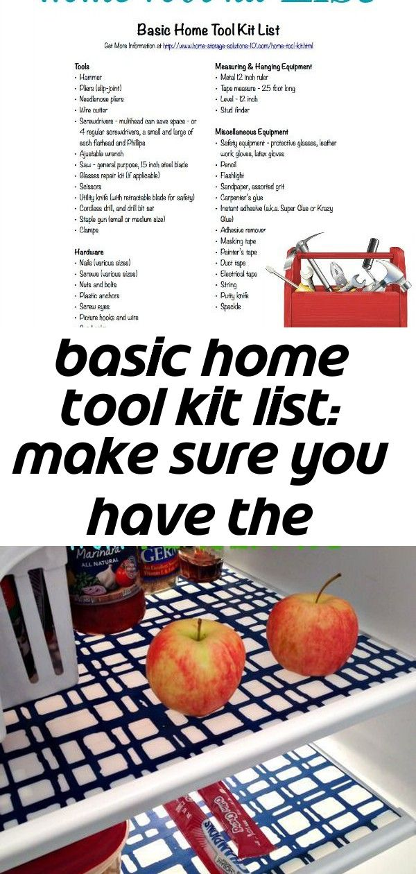 Free Printable Home Tool Kit List To Make Sure You Have All The Essential Tools Necessary For Basic Home Repairs And Impro With Images Home Tool Kits Tool Kit Clean Fridge