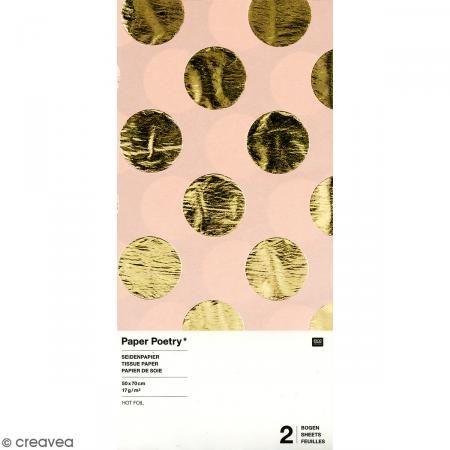 Papel de seda - Puntos dorados sobre fondo rosa - 50 x 70 cm - 2 uds - Fotografía n°1