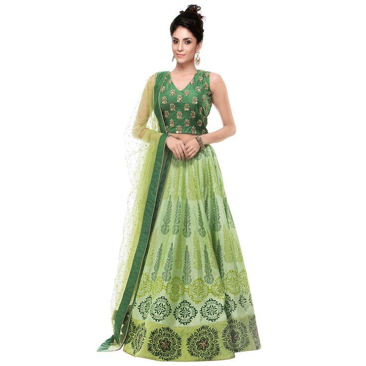 Bhagalpuri Silk Green Machine Work Semi Stitched Lehenga - L101 at Rs 1499