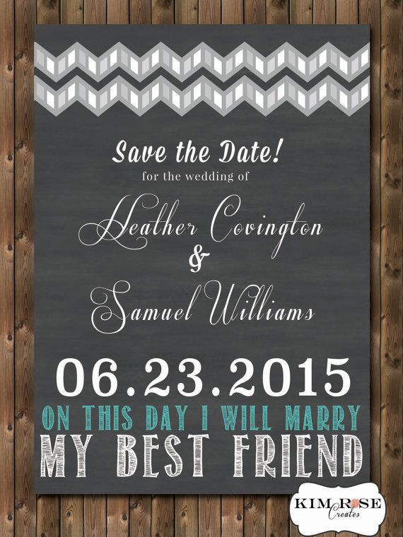 Chalkboard Style 'Save the Date' invitation - typography, chevron, colour changeable - personalized printable
