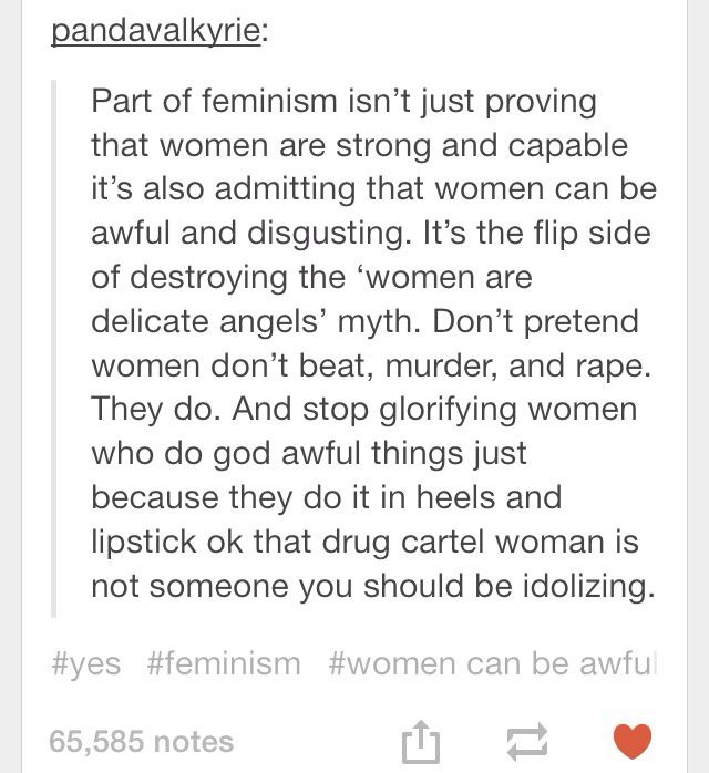 GOD FREAKING GOD YES THIS JUST BECAUSE I'M FEMINIST DOESN'T MEAN I THINK ALL VAGINA PEOPLE ARE GLORIOUS FLAWLESS BEINGS