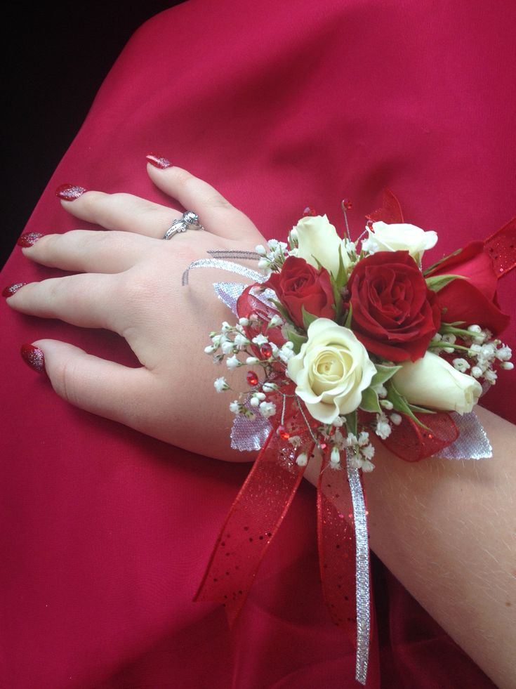 Prom corsage with red & white roses and baby's breath