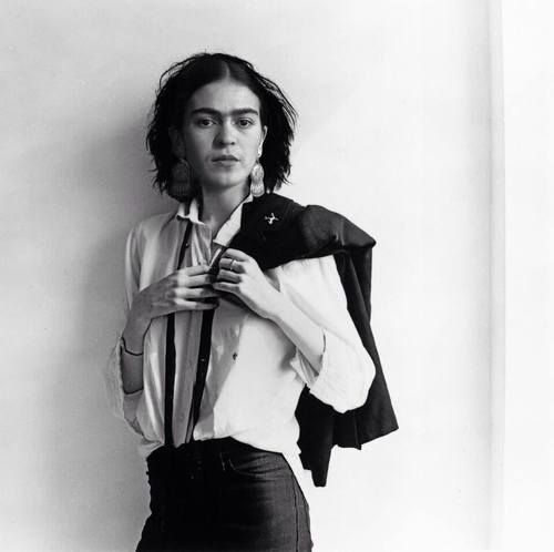 Frida Kahlo - I've never seen her before in this contemporary look.  She could fit in perfectly in current times.