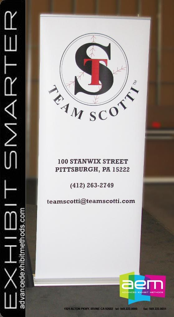 "Retractable 36 x 84"" banner stand for Team Scotti  http://www.teamscotti.com/   Advanced Exhibit Methods 949-223-0000"
