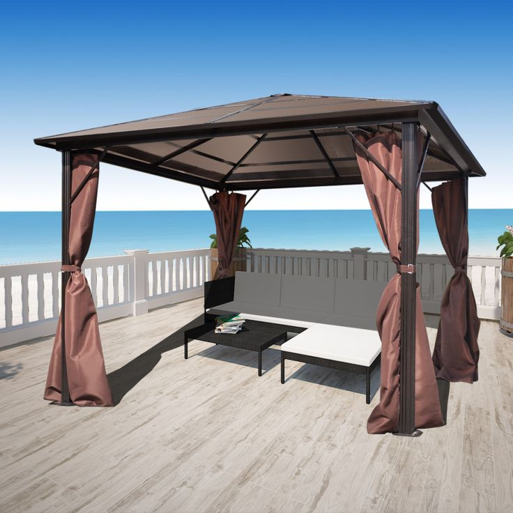 This gazebo with curtains features a classic and elegant design. It will make the perfect sunshade shelter for outdoor events, such as dinners, BBQs, family gatherings and so on.