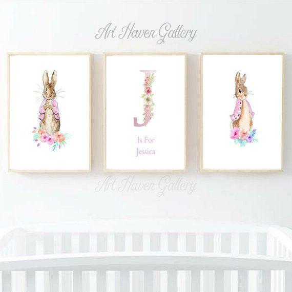 Set Of 3 Peter Rabbit Prints Personalised Prints Nursery Etsy Baby Name Art Baby Girl Nursery Decor Personalised Prints