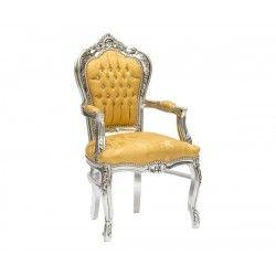 Poltrona sedia barocco argento oro Luigi XVI braccioli legno gemme