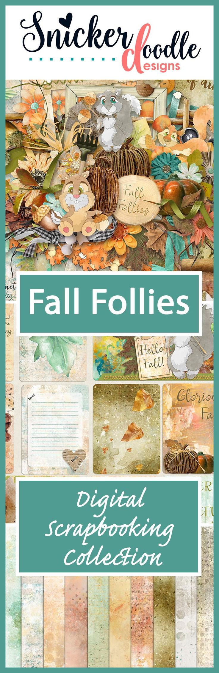 "Capture the whimsey of the season, while adding rustic charm to your digital scrapbook pages, when you use ""Fall Follies"" to scrap your memories. #SnickerdoodleDesigns  #digitalscrapbooking #FallFollies  http://www.thedigichick.com/shop/search.php?mode=search&page=1"