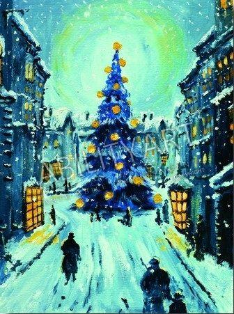 """Jan SPOREK è originario della Polonia. Ha creato l'opera """"Albero di Natale nel centro storico"""" con l'utilizzo esclusivo della bocca. La tecnica utilizzata è quella ad olio ed il formato originale è 32x24 cm. https://www.abilityart.it/albero-di-natale-nel-centro-storico-neve.html"""
