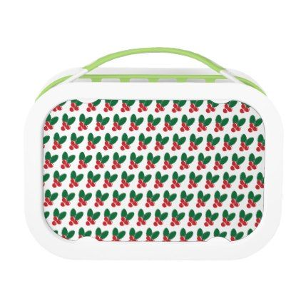 Christmas Red Berries Green Leaves Pattern Lunch Box - patterns pattern special unique design gift idea diy