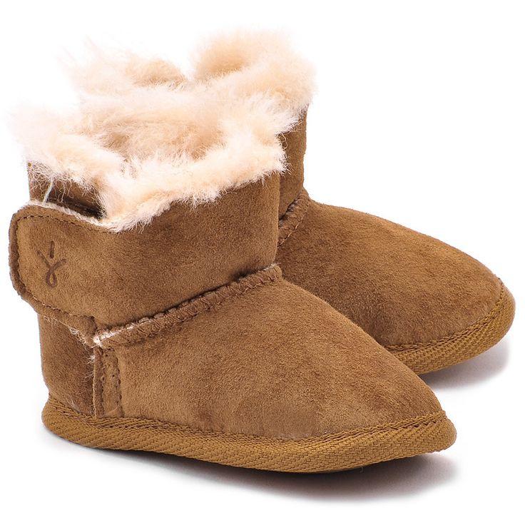 EMU Baby Bootie Chestnut - Orzechowe Zamszowe Ocieplacze Dziecięce - Buty Dla niemowląt Dzieci   Mivo