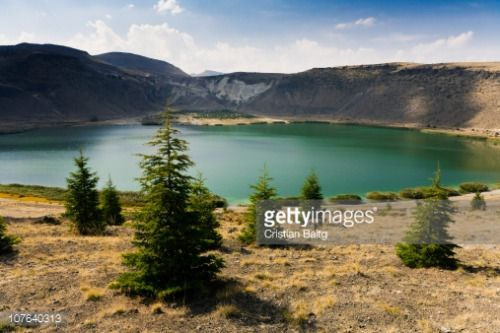 Narlikuyu Krater Gölü lake in extinct volcano crater Cappadocia... #narlikuyu: Narlikuyu Krater Gölü lake in extinct volcano… #narlikuyu