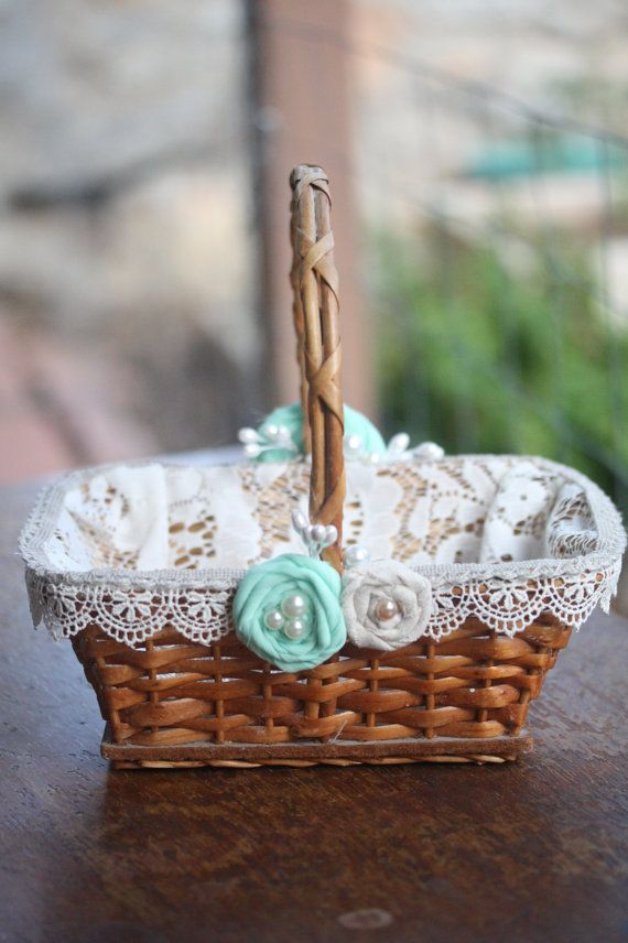 Rustic Flower Girl Basket with ivory lace and mint flowers