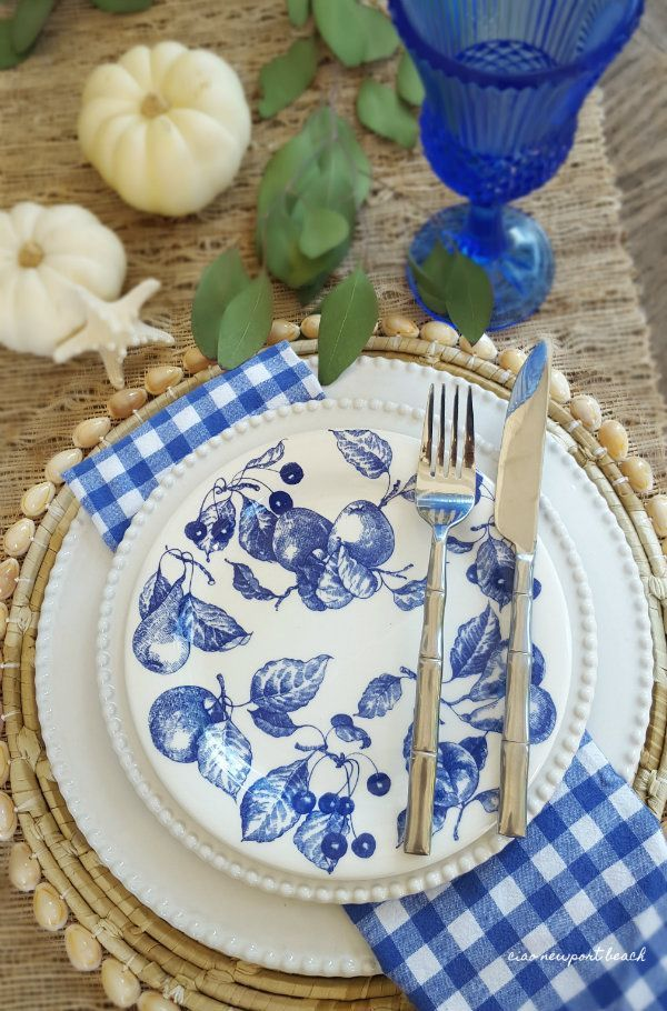 How about a little coastal charm added to Thanksgiving? Beautiful blue and white transferware can be quite adaptable, especially if it has a hint of fall pattern to it, that's why I chose these blue and white salad plates with the wonderful fruit harvest design.