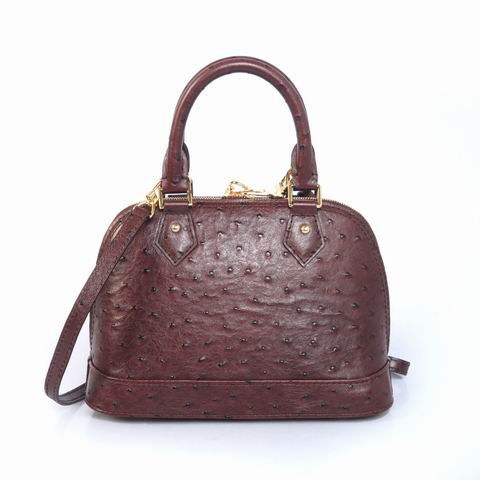 #91606 Louis Vuitton 2013 Ostrich Leather Alma BB - Brown