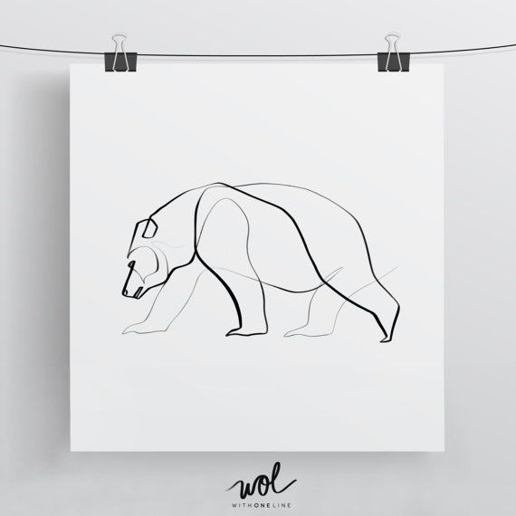 Bear Art Print, Bear Drawing, Calligraphy Art, One Line Art, Bear Gift, Single Line Drawing, Gifts for Dad, Unique Gift for Mom and Dad – Luna wolf