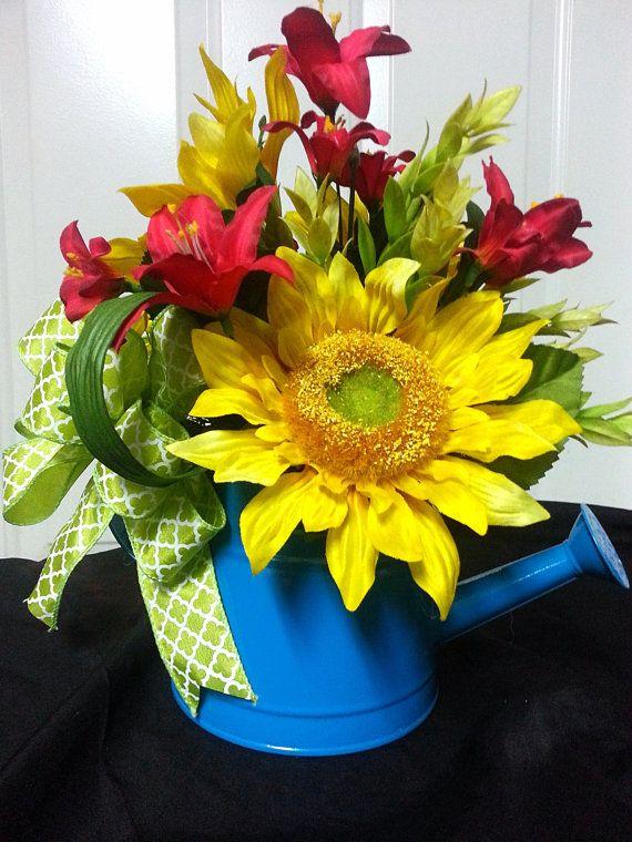 Sunflower Watering Can Arrangement Summer Watering by Azeleapetals, Azelea Petals