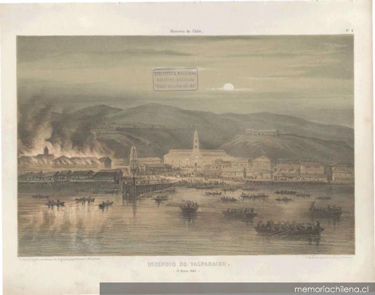 Lámina, Incendio de Valparaíso, 15 de Mayo de 1845. Autor: Claudio Gay Fuente: Memoria Chilena