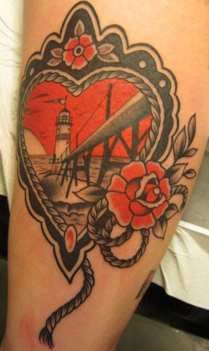 Red n Black always look nice.: Tattoo Ideas, Awesome Tattoo, Lighthouses Tattoo, Traditional Heart Tattoo, Tattoo Patterns, Tattoo Design, Traditional Tattoo, Design Tattoo, Cool Tattoo
