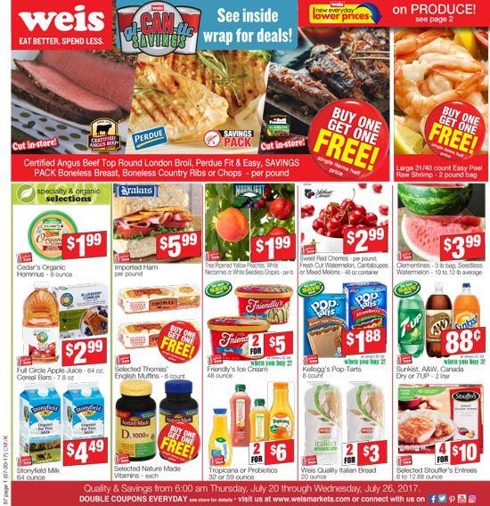 Weis Markets Circular July 20 - 26, 2017 - http://www.olcatalog.com/weis-markets/weis-markets-circular.html