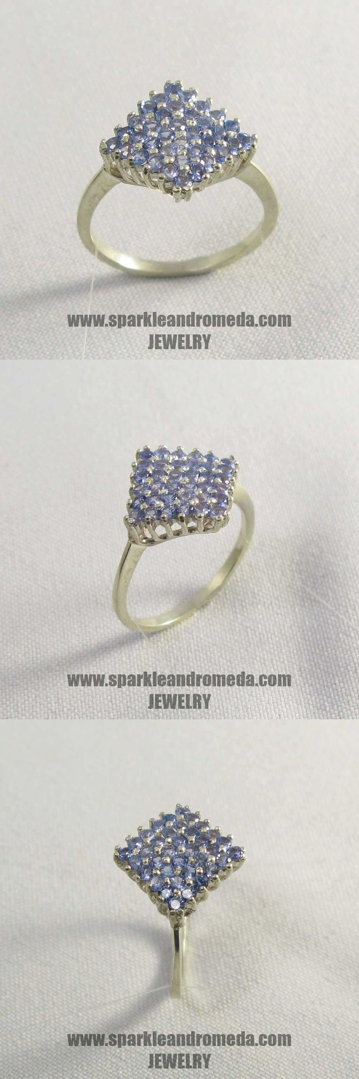 Sterling 925 silver ring with 36 round 2 mm light blue sapphire color cubic zirconia gemstones.