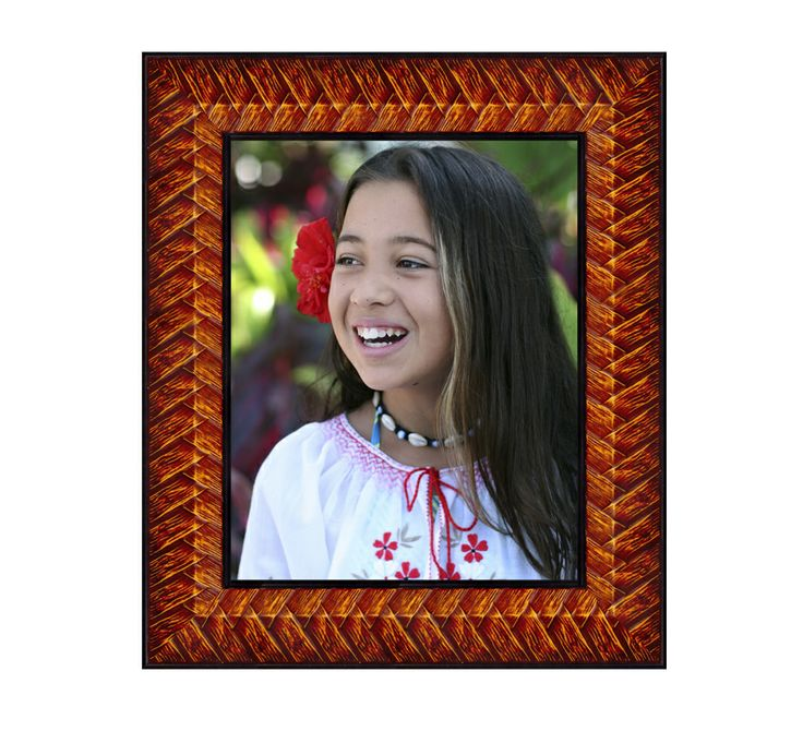 """Braided Palm Frames features a carved palm leaf pattern and rich mahogany finish with black inner and outer trim. Velour door style easel backing with two way easel stand, 8"""" x 10"""" & 8½"""" x 11"""" frames feature two way wall hangers as well. Made in the USA."""