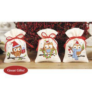 Christmas Owl Sachet Set - Cross Stitch, Needlepoint, Stitchery, and Embroidery Kits, Projects, and Needlecraft Tools | Stitchery