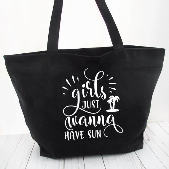 Strandtasche mit Reißverschluss – Mädchen wollen einfach nur Sonne haben – Weekender-Einkaufstasche mit Tasche, Einkaufstasche mit Reißverschluss, Sommer-Einkaufstaschen – Hauch von Wacholder