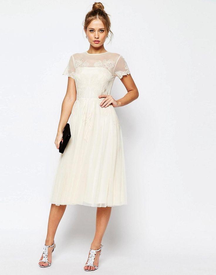 Image 4 ofASOS SALON Lace Applique Mesh Midi Skater Dress