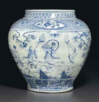 A LARGE BLUE AND WHITE 'WINDSWEPT' JAR, GUAN MING DYNASTY, MID-15TH CENTURY Heavily potted and of baluster form, the jar is deftly painted around the sides in the 'windswept' style with Daoist imagery, with a scene of two men playing weiqi while an imposing figure with a halo around his head, possibly Laozi holding a ruyi scepter, sits between them observing.  13¾ in. (35 cm.) high SOLD for $100,000