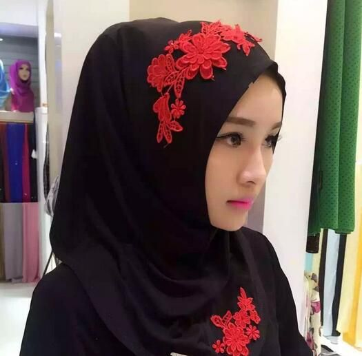 >> Click to Buy << fashion hijab scarf stitched flower patch khaleeji hijab popular cover shawl 2 colors free ship #Affiliate