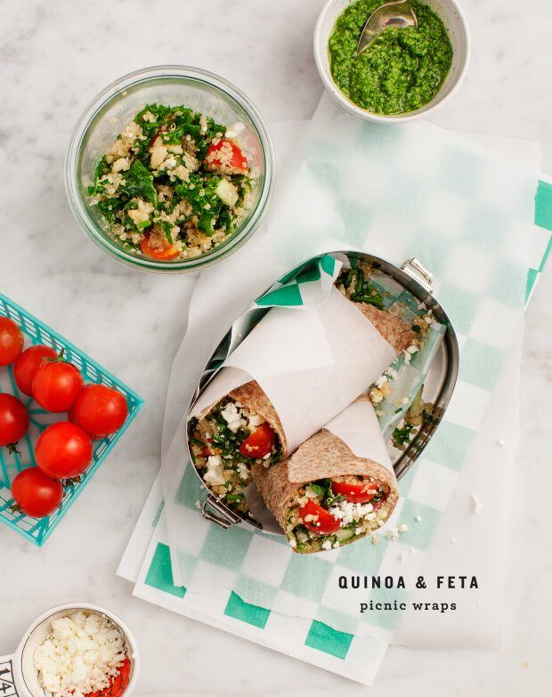 Picnic Wraps with Feta and Quinoa Salad