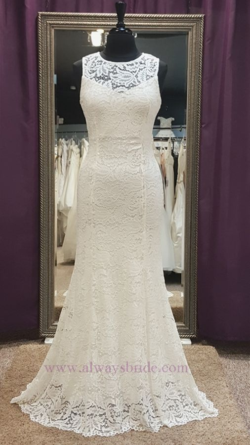 Fluted Sheath Light Ivory Stretch Lace Wedding Dress Always A Bride Consignment Grafton