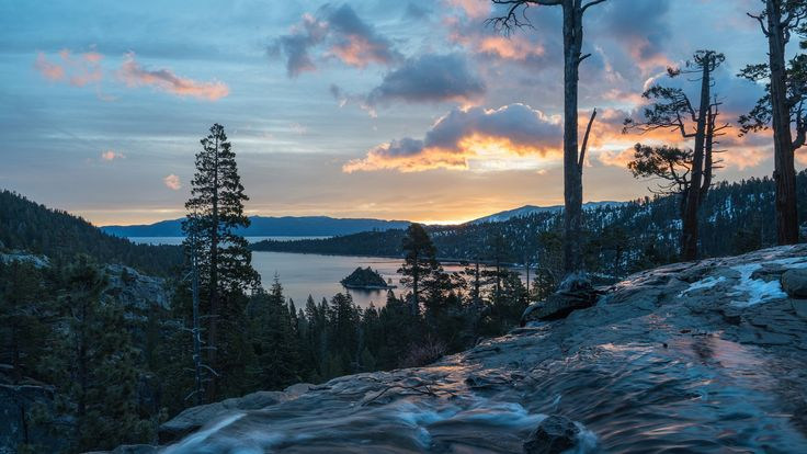 Скачать обои водопад, California, панорама, Emerald Bay State Park, озеро, Lake Tahoe, озеро Тахо, водопады Игл, Eagle Falls, Калифорния, раздел пейзажи в разрешении 1920x1080