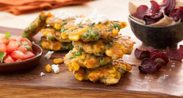 Stacks on! These Crispy Pea Fritters are the perfect morning meal.  #brunch #breakfast #recipe