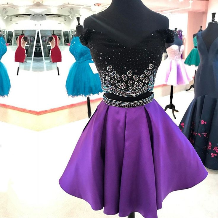 cute prom dress,chic party dress,purple homecoming dress,satin dress,two piece prom dress,birthday outfit,summer dress