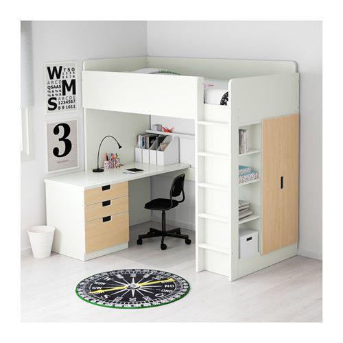 STUVA Kombi łóż antr/3 szuf/2 drz - biały/brzoza - IKEA