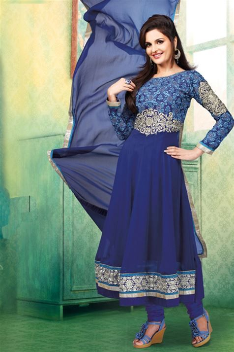 Monika Bedi 60GM Blue Designer Party wear Anarkali Salwar Kameez
