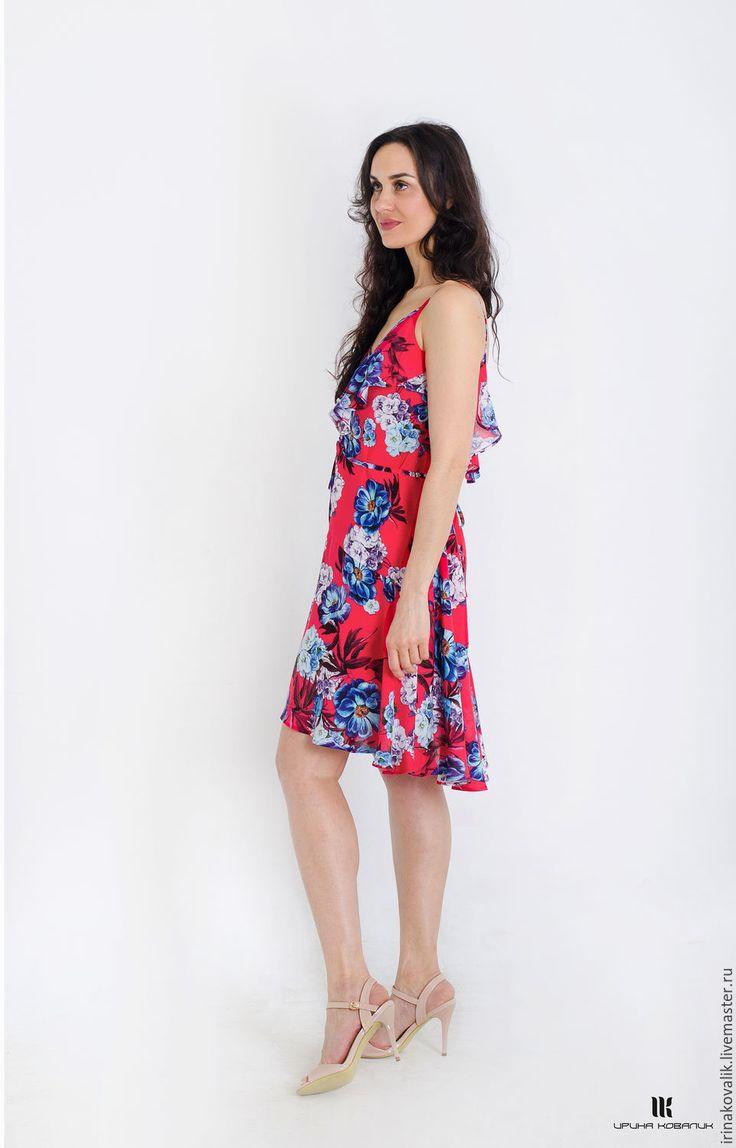 Купить Сарафан с воланами - ярко-красный, красный сарафан, сарафан в цветы, летний сарафан