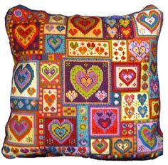 NeedlepointUS.com: Animal Fayre Needlepoint Cushions Kit - Little Heart Patchwork, Animal Fayre, AF22
