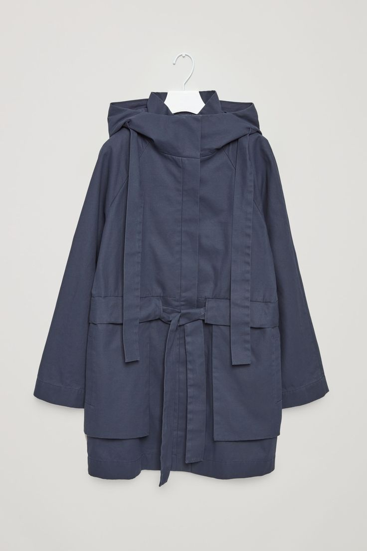 COS image 6 of Hooded canvas coat in Steel Blue