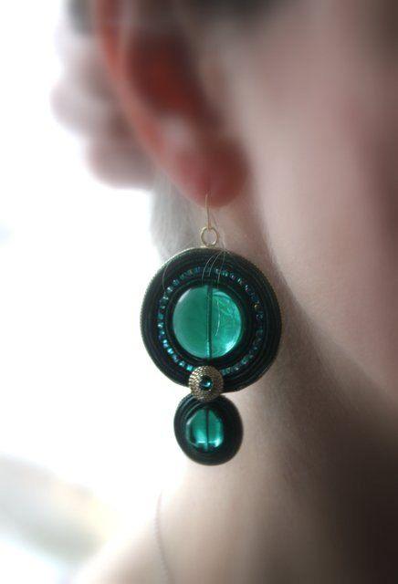 Soutache Jewelry Soutache Earrings Green Earrings by Herinia, $35.00