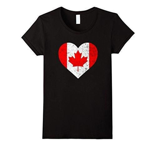 Women's Vintage Canadian Flag Canada Day Maple Leaf Heart T-Shirt Medium Black