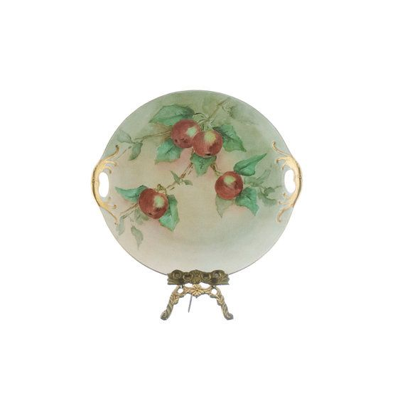 Antique German Plate 1800s, Hand Painted with Gold Encrusted Double Handles, Cabinet Plate with Red Apples Green Leaves, Victorian Platter
