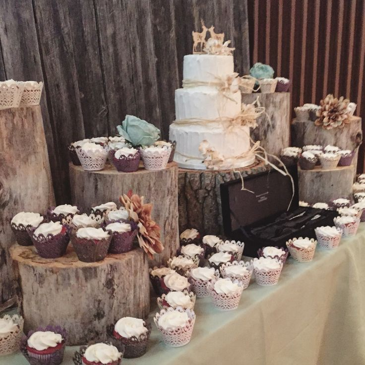Rustic wedding cake and cupcakes by Well Dressed Cakes by Brett. www.welldressedcakes.ca