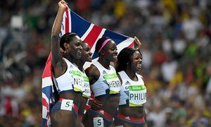 #Rio2016 Day 15 ~ Asha Philip, Desiree Henry, Dina Asher-Smith and Daryll Neita of Great Britain